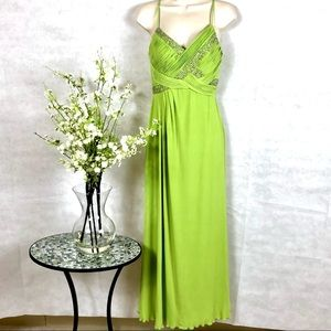 JS Boutique Lime Green Sequin Beaded Gown, Size 6